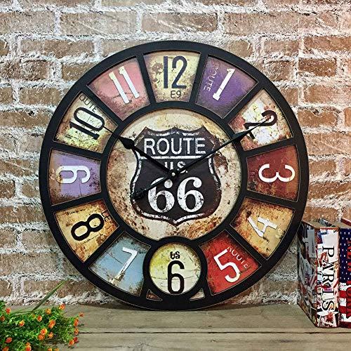 UNILIFE American Vintage Grande Reloj de Pared, Redonda Estilo Loft Industrial Relojes Madera Silencioso Puntual Retro Decoración Cafe Restaurante Bar-G d:58cm