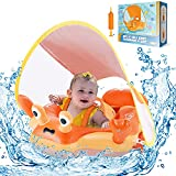 Eaglestone Baby Pool Float with UPF 50+ UV Sun Protection Canopy,Inflatable Orange Infant Toddler Pool Float for Age of 6-36 Months,Improved Add Tail Never Flip Over Baby Swimming Ring for Safer Swims