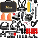 Kitway 65-in-1 Action Camera Accessories Kit for Akaso EK7000/Wewdigi EV5000/GoPro Max, Hero 8 Black, Hero 7 Black 6 5 4 3+ 3 2 1/DBpower N6/Crosstour (Accessories for Action camare)