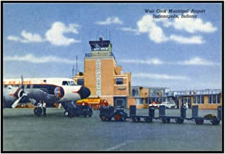 Indianapolis, Indiana - Weir Cook Municipal Airport Scene (36x22 5/8 Framed Gallery Wrapped Stretched Canvas)