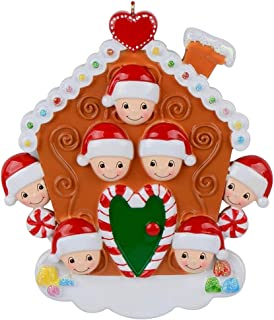 MAXORA Gingerbread House Family of 7 Personalized Christmas Ornament