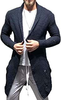 Howely Men Knitted Open Front Outerwear Ripped Holes Sweater Shawl Cardigan