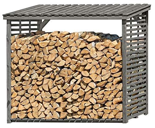 Gartenpirat Kaminholzregal XXL für bis zu 4,1 m³ Brennholz aus Holz grau für außen