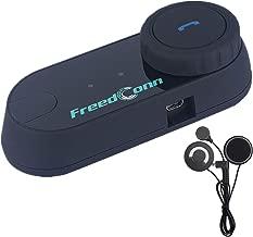 Motorcycle Communication System,FreedConn T-COMVB Helmet Bluetooth Headset Intercom with Soft Corded Microphone for Motorbike Skiing (Range-800M/2-3Riders Pairing/Black)