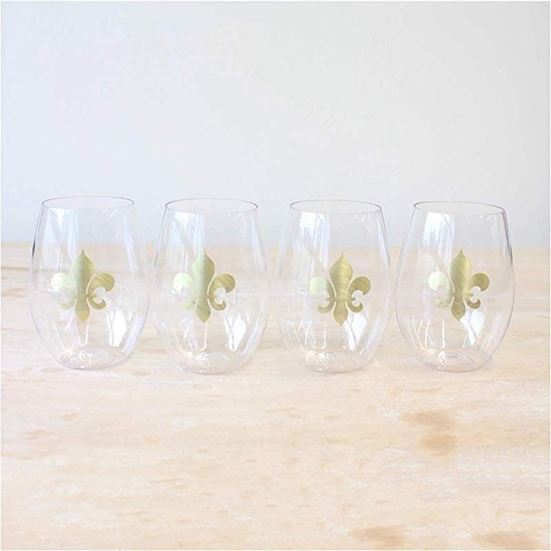 Fleur De Lis To Go Clear And Gold 15 Ounce Acrylic Wine Glasses Pack Of 4