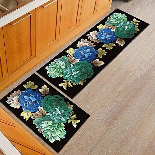 OPLJ Alfombra de Cocina de Flores de Estilo rústico Americano Alfombra de Mesa de Comedor a Prueba de Polvo Alfombra de Entrada Antideslizante Alfombra al Aire Libre A5 50x80cm + 50x160cm
