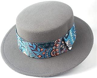 Pork Pie Hat Fedora Trilby Men Women Flat Top Fedora Hat Trilby Wide Brim Hat Church Party Hat Winter Outdoor Travel Fascinator Casual Hat Size 56-58CM (Color : Gray, Size : 56-58)