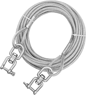 XiaZ Dog Runner Tie Out Cable Dog Leash Run Trolley Training Lead, Steel Wire Pet Runner for Large Dogs Up to 250 Pound