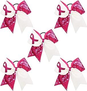 Breast Cancer Awareness Cheer Bow Glitter Hair Tie Ponytail Holder for Baby Girls Set
