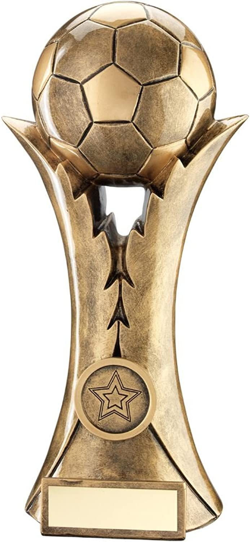 BRZ gold Football ON Leaf Column Trophy (1in Centre)  8in
