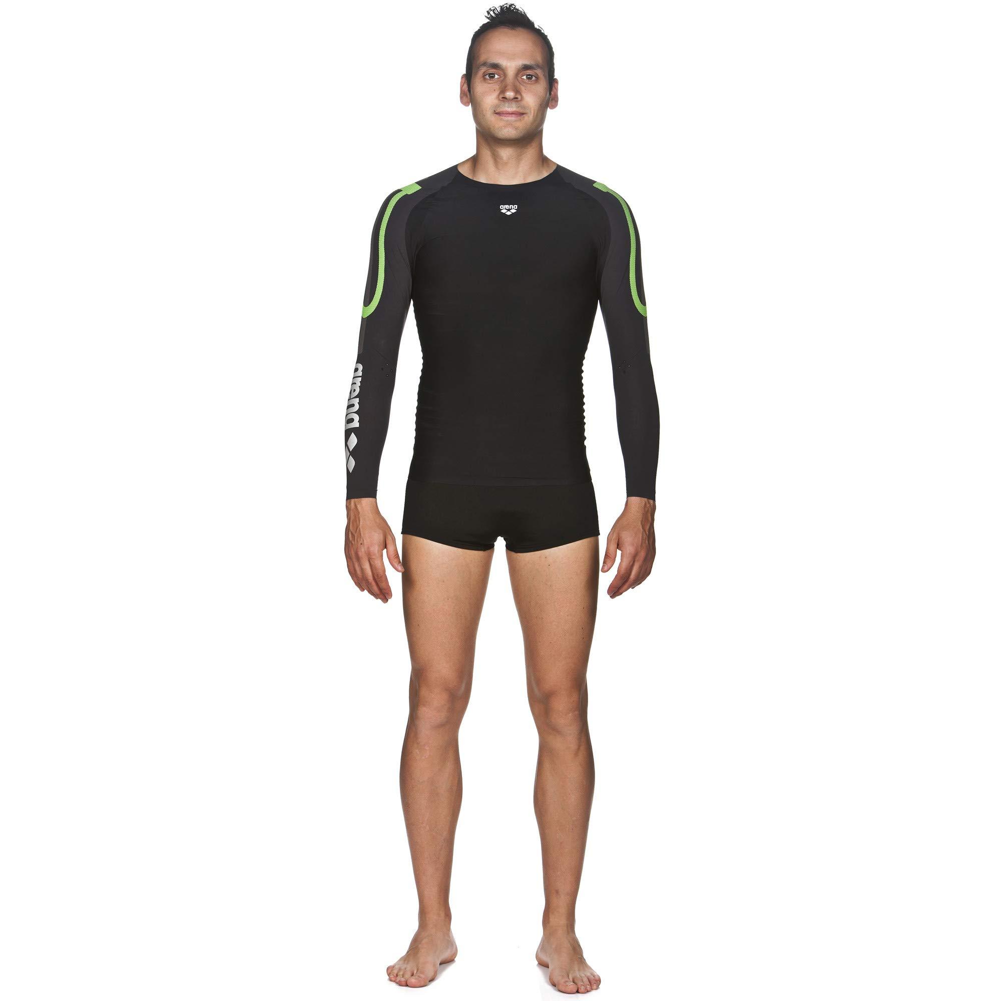 arena Herren Schwimm Kompressionsshirt Carbon Langarm (Atmungsaktiv, Carbon-Mate