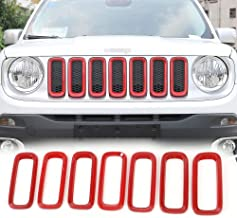 JeCar Front Grill Grille Inserts 2016-2017 Jeep Renegade Unlimited ABS Red (Pack of 7)