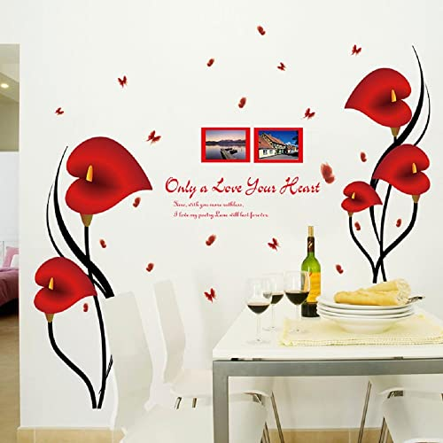 Red Flower Border Wall Decal Sticker