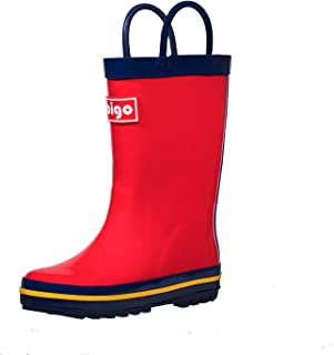 hibigo Children's Natural Rubber Rain Boots with Handles Easy for Little Kids & Toddler Girls Pattern and Boys Girls, Solid