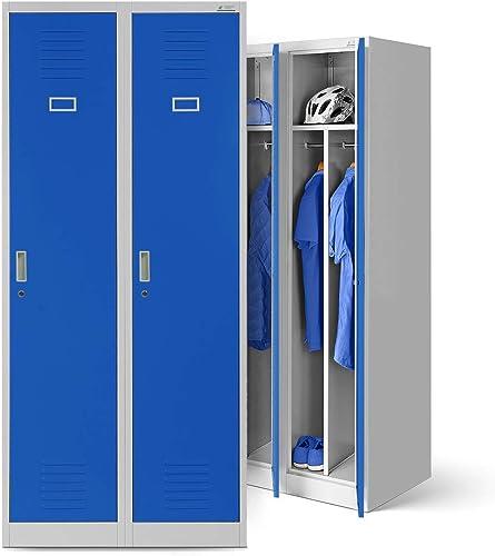 Vestiaire metallique 2B1A casier vestiaire 2 compartiments cloison Revêtement en poudre 180 cm x 80 cm x 50 cm (gris/...