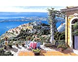 Cuadro De Balcón De Painting By Numbers - Diy Digital Oil Painting Acrylic Paint Set Niños Adultos Decoración Para El Hogar Con Marco 16x20 Pulgadas