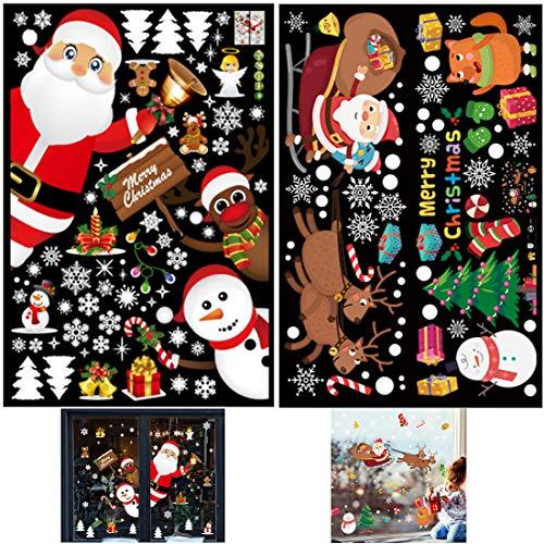 WENTS Navidad Pegatina De Ventana, Ventana Navidad Decoraciones/DIY Copo De Nieve Alce Decoración Extraíble PVC Pegatinas Electrostáticas Esté Lleno De Ambiente Navideño 2pcs