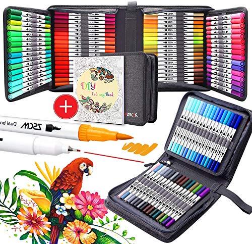 ZSCMイラストペン 100色 ふで・極細 ぺんてる 水性 カラーペン セット アートマーカーペン 水彩毛筆 鮮やか 水性ペン コピックペン 手帳 絵手紙 色塗り 大人の塗り絵 カード 学校用 子供用 収納ケース付き