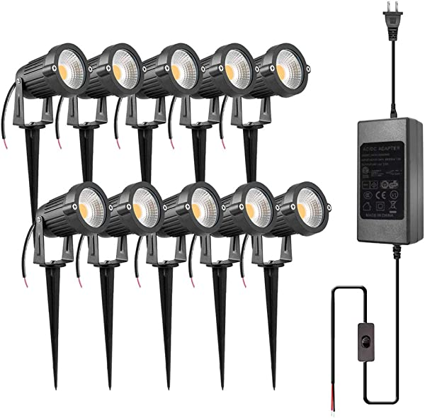 ZUCKEO 5W LED Landscape Lights With Transformer 12V 24V Waterproof Garden Pathway Lights Warm White Walls Trees Flags Outdoor Spotlights With Spike Stand 10 Pack With Transformer