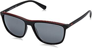 5a19ef7a7d Emporio Armani lunettes de soleil carré bicolore mate noir rouge EA4109  50426G 57
