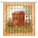 Outhouse Duschvorhang aus Holz, rustikaler Bauernhof, Werkzeuge & Sämlinge, Zaun, Baum, rustikal, Bauernhaus, ländliches Leben, Stoff, Badvorhänge aus Polyester, mit Kunststoffhaken, 152 x 180 cm