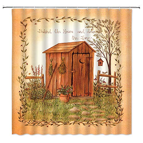 BOYIAN Outhouse Shower Curtain Old Wooden Shed Country Side Farm Tools and Seedlings Fence Tree Rustic Farmhouse Rural Life Fabric Bath Curtains Bathroom Polyester with Plastic Hooks 60x71 Inch