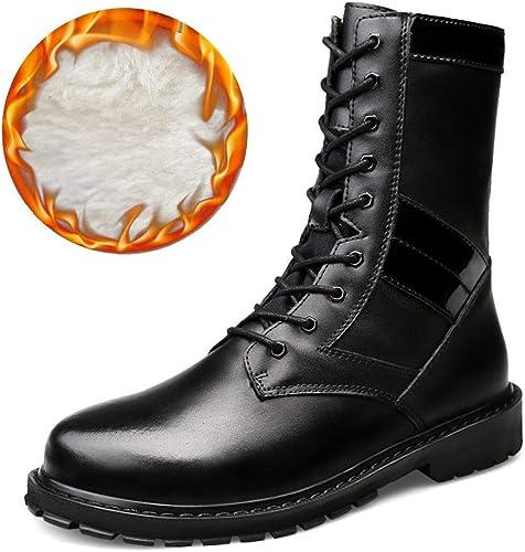 Oudan Bottes mi-Bottes de la Mode pour Hommes, Bottes de l'armée décontractées à Semelle Montante et à Semelle Montante (Warm Velvet en Option) (Couleur  Noir Chaud, Taille  42 EU)