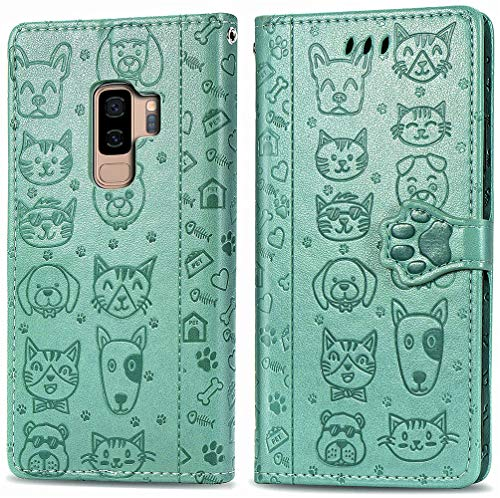 MEUPZZK Samsung Galaxy S9 Plus Wallet Case, Embossed Cat and Dog Premium PU Leather [Folio Flip] [Kickstand] [Card Slots] [Wrist Strap] [6.2 inch] Cover for Samsung S9 Plus (C-Green)