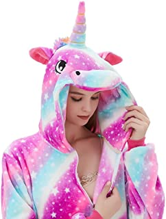 ABENCA Fleece Onesie Pajamas for Women Adult Cartoon Animal Unicorn Christmas Halloween Cosplay Onepiece Costume