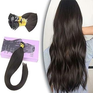 VeSunny 14inch Dark Brown Itip Human Hair Extensions Color #2 Dark Brown Fusion Tip Hair Extensions Human Hair 50G Per Pack