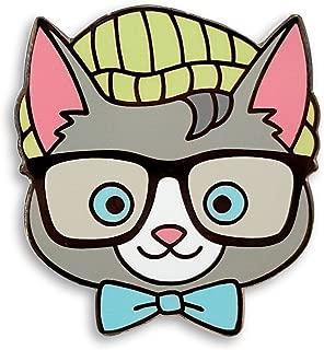 Cute Nerdy Hipster Cat Enamel Lapel Pin,Multi,1.25 inch