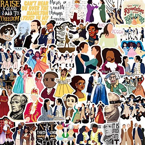 HENJIA Pegatinas 50 Hamilton, Taza de Agua Creativa, portátil, Equipaje, Pegatinas de Grafiti Decorativas Impermeables Musicales Musicales