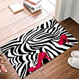 Libaoge Abstrakte Sexy Zebra Frau Big Ass mit roten High Heels Kunst Fußmatte Welcome Mat Eingangsmatte Indoor/Outdoor Fußmatte Fußmatte Badteppich, Textil, Color 1, 20x31.5
