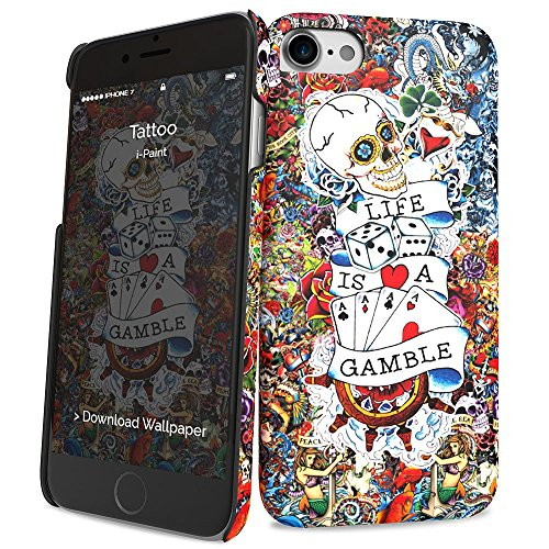 i-Paint Cover Hard Case per iPhone 8/7/SE 2020, Modello Tattoo