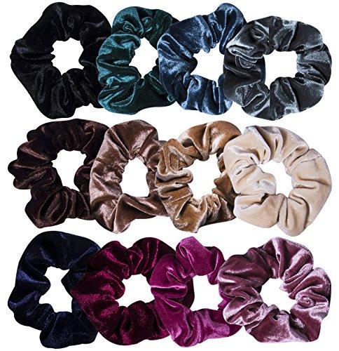 12 Stück Haargummi Samt Scrunchies Elastisches Haargummis Mädchen Bunte, 12 Farben für Jeden Outfit MEHRWEG