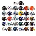 Mix of 10 Random NFL Mini Football Helmets with Logo and Mask 2 Inch - 10 Teams in Set - Kids Birthday Cake Toppers Boys Superbowl Party Ornament Decoration Favors Vending Machine Lot