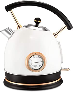 Pukomc 1.8L Electric Water Kettle with Thermometer, Hot Water Boiler & Tea Heater with Curved Handle, Visible Water Level