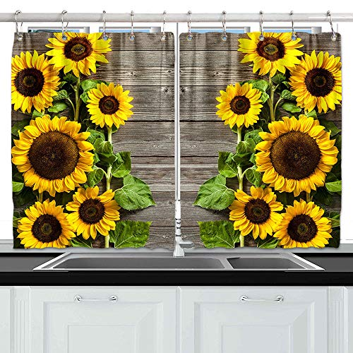 NYMB Sunflower on Rustic Wooden Kitchen Window Curtains, Spring Flower on Vinatge Country Wood Wood Curtains Panels, Kitchen Decorations Window Drapes, Window Treatment Sets with Hooks, 55X39Inches