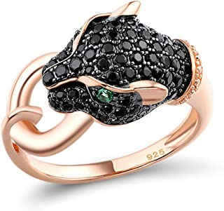 Santuzza Black Panther Spinel Rose Gold 14K Plating Rings for Women 925 Sterling Silver Leopard Head Ring