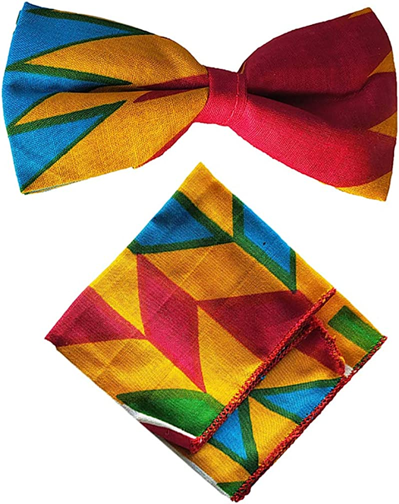 Multi-colored Kente African Print Bow Tie with Pocket Square