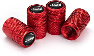 GO-UPP 4 Pieces Jeep Skull Logo Tire Valve Stem Caps Wheel Covers For Jeep Chrysler Grand Cherokee Wrangler Compass Cherokee Renegade Patriot Grand Comander Decoration Accessories