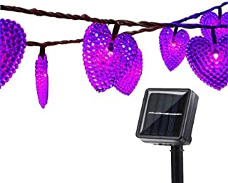LAFEINA Solar Powered String Lights, 20ft 30 LED Solar Heart-Shaped String Lights Waterproof Ambiance Lighting for Indoor Outdoor Patio Garden Home Christmas Wedding Party Decoration (Purple)