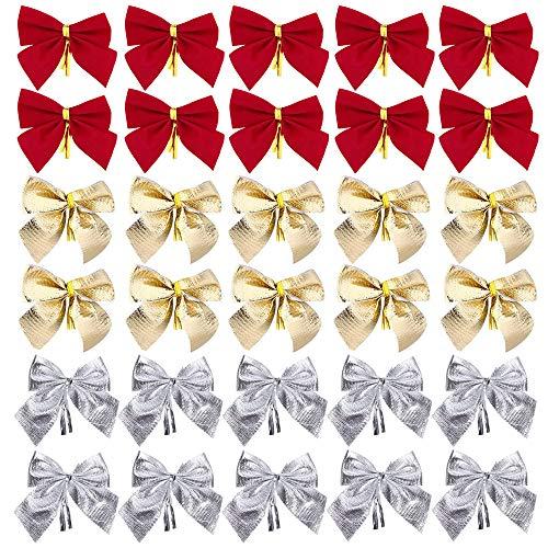Gobesty Ornamente Weihnachten Schleifen, 72 Stück Mini Weihnachtsbaum Bögen für Weihnachtsbaum, Weihnachtskranz, Geschenk Dekoration