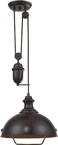 high quality Elk discount 65071-1 14-Inch 2021 Farmhouse 1-Light Pendant, Oiled Bronze outlet online sale