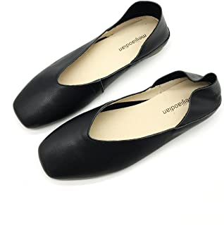 [ZUYEE] (ズイェ) レディース パンプス ぺたんこ スクエアトゥ Vカット ローヒール 本革 スリッポン フラットシューズ バレエシューズ 柔らかい 歩きやすい カジュアル 2way