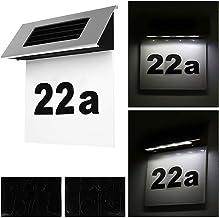 Alaskaprint Num/éro de Maison Lumineux Solaire avec 4 LED /Éclairage de Maison avec Lampe LED et Interrupteur cr/épusculaire D/étecteur de Mouvement en Acier Inoxydable