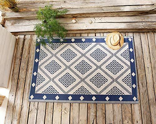 Dekoleidenschaft Outdoor Teppich in beige/blau, Sisal Optik, wetterfest, aus recyceltem Kunststoff, für Balkon & Terrasse