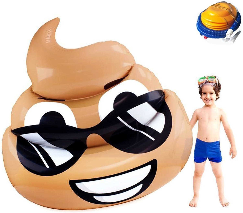 JYY Aufblasbares Schwimmbecken Emoji-Schwimmfloss-Fle PVC-riesiges Aufblasbares Liege-Swimmingpool-Luftbett-Strandmatte Für Kinder Und Erwachsene,170  170cm