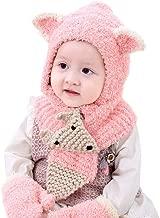 Inkach Baby Girls Boys Winter Hat Scarf Gloves Set Kids Earflap Hood Scarves Crochet Knit Skull Caps (Pink)