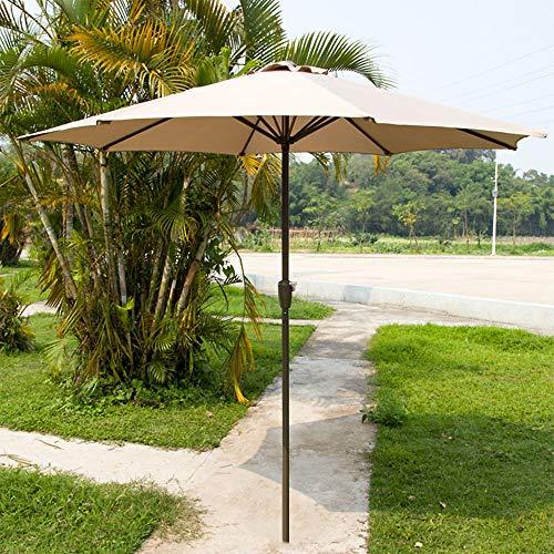 Parasol Extérieur 2,7 M Rond De Table avec Manivelle Étanche Jardin De Marché De Plage sans Base